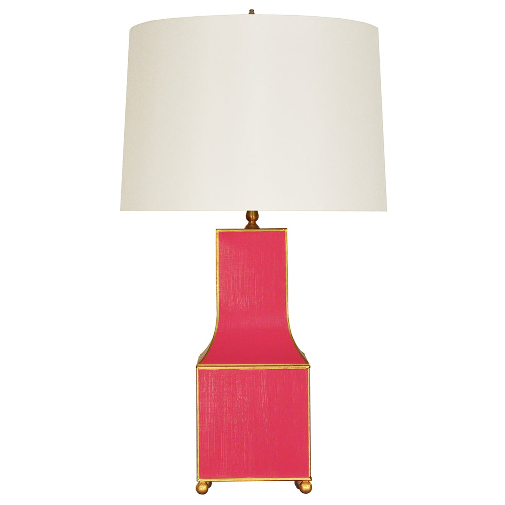 Worlds Away Handpainted Pagoda Table Lamp with Gold Trim – Pink