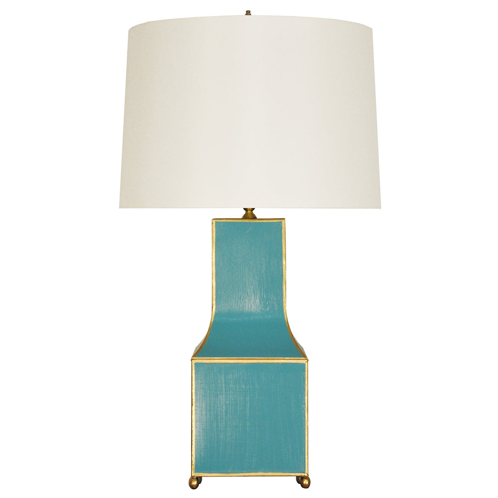 Worlds Away Handpainted Pagoda Table Lamp with Gold Trim – Turquoise