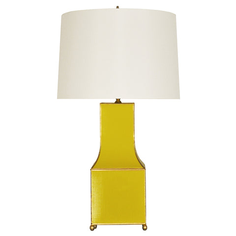 Worlds Away Handpainted Pagoda Table Lamp with Gold Trim – Yellow