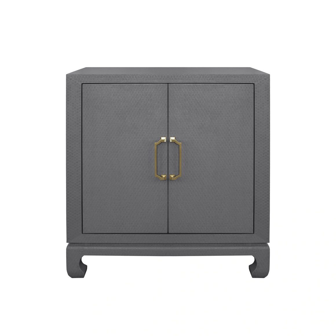 Worlds Away Renwick 2 Door Chest with Brass Hardware - Grey Lacquered Basketweave Grasscloth