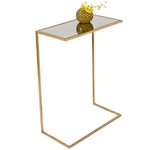 Worlds Away Rectangular Antique Mirror Cigar Table – Gold Leaf