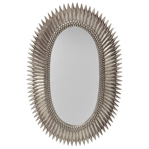 Worlds Away Large Oval Starburst Mirror – Silver Leaf