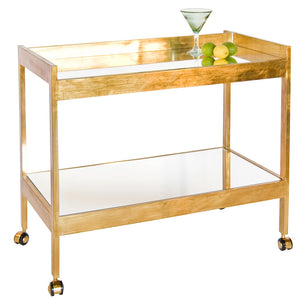 Worlds Away Contemporary Mirrored Cart – Gold Leaf