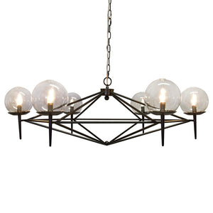 Worlds Away Modern Chandelier with Glass Globes - Black