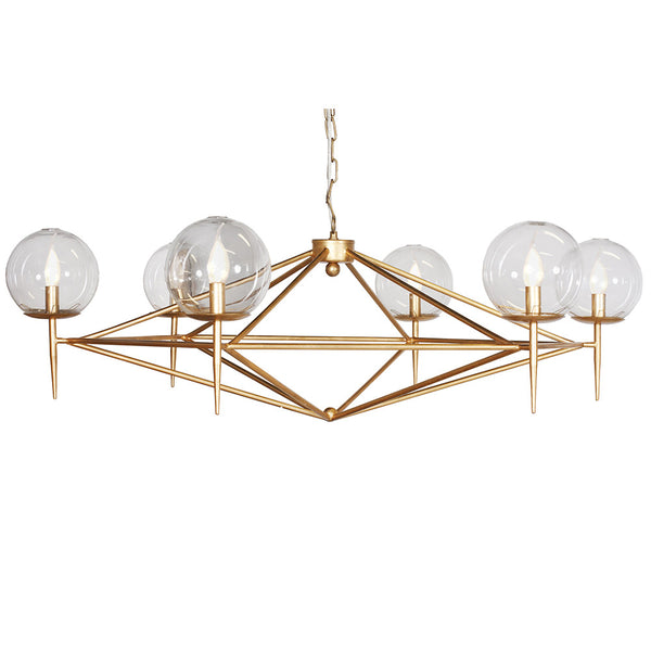 Worlds Away Modern Chandelier with Glass Globes - Gold Leaf