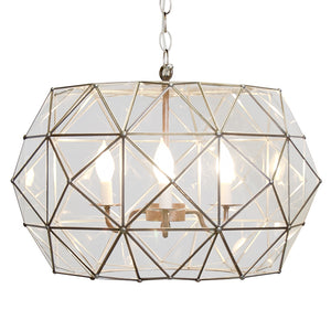 Worlds Away Clear Glass Faceted UFO Pendant Light – Large