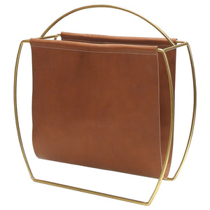 Worlds Away Russell Leather Magazine Rack