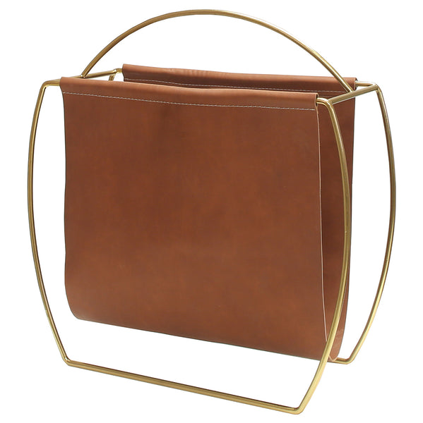 Worlds Away Modern Brass & Leather Magazine Rack