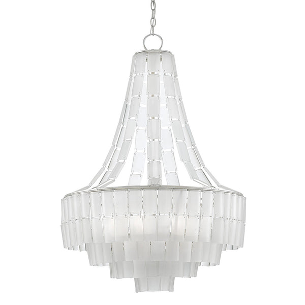 Currey and Company Recycled Glass Layered Chandelier – Silver Leaf