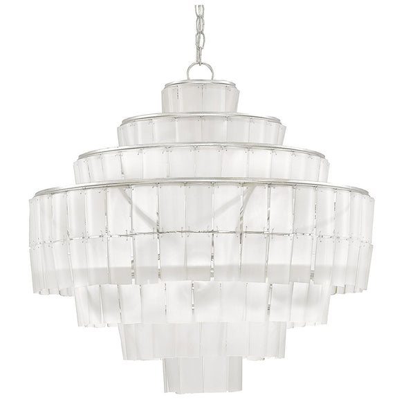 Currey and Company Recycled Glass Tiered Chandelier – Silver Leaf