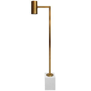 Worlds Away Modern Floor Lamp with White Marble Base – Antique Brass