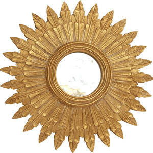 Worlds Away Santo Small Round Starburst Mirror – Gold Leaf