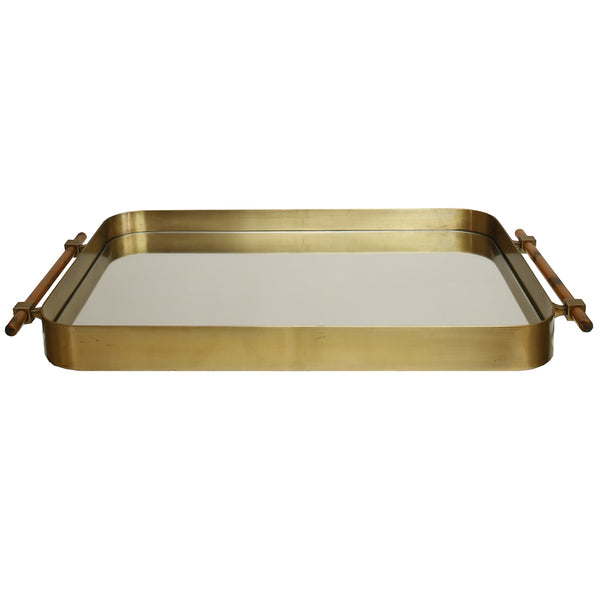 Worlds Away Antique Brass & Mirror Tray with Horn Handles