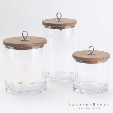 Rustic Glass Canister with Wooden Lid – Set of 3
