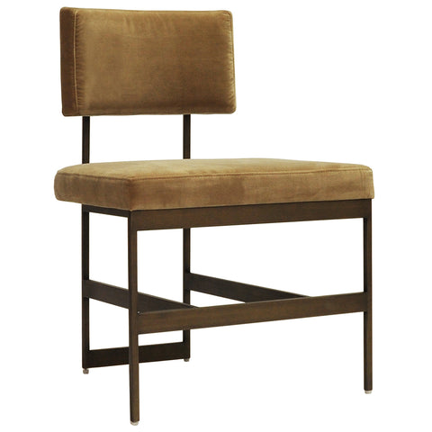 Worlds Away Bronze Frame Armless Dining Chair – Camel Velvet