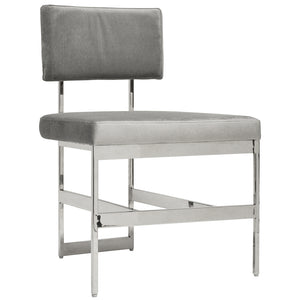 Worlds Away Nickel Frame Armless Dining Chair – Grey Velvet