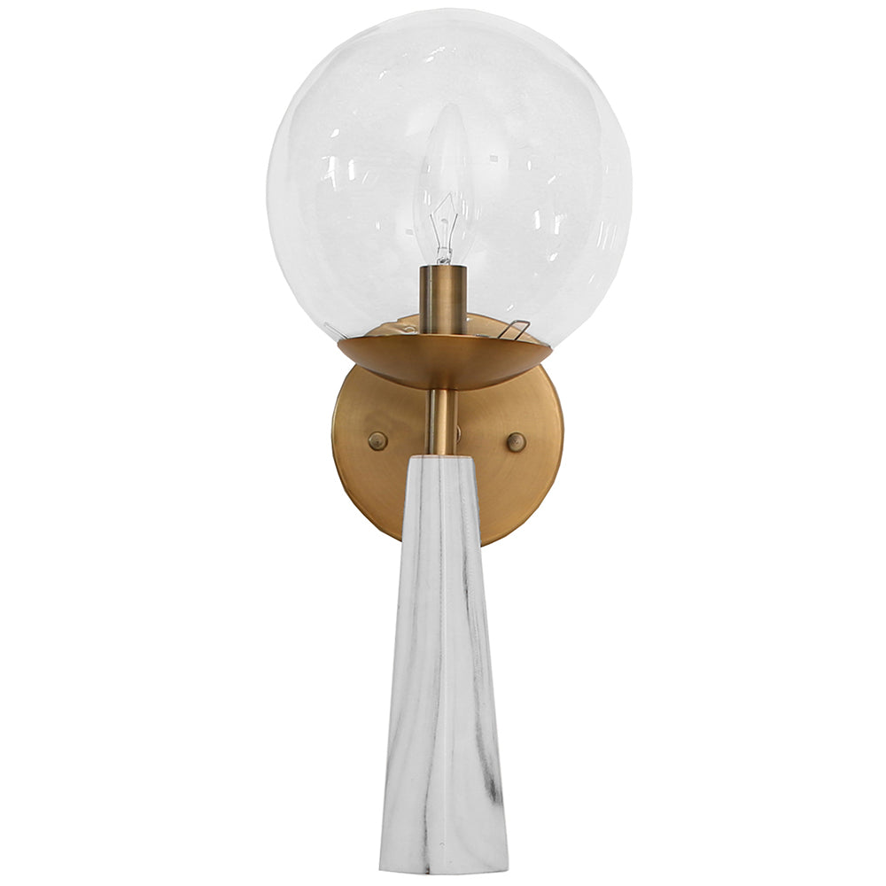 Worlds Away Faux Marble Sconce with Clear Globe   Antique Brass