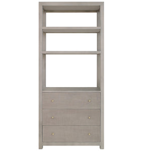 Worlds Away 3-Drawer Etagere – Grey Grasscloth