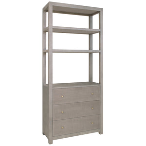 Worlds Away Silas 3 Drawer Etagere – Grey Grasscloth