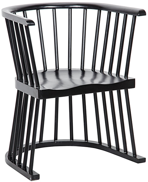 Noir Bolah Slatted Dining Chair - Hand Rubbed Black