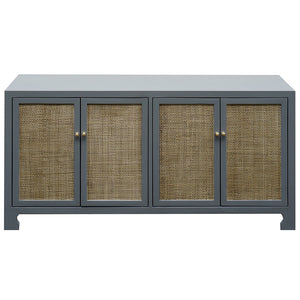 Worlds Away Lacquer Four Door Cane Cabinet – Grey
