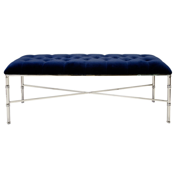 Worlds Away Nickel Bamboo Bench with Tufted Velvet Seat – Navy