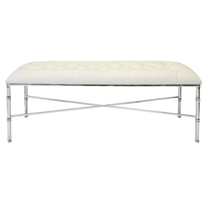 Worlds Away Nickel Bamboo Bench with Tufted Vinyl Seat – White