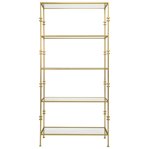 Worlds Away Contemporary Etagere with Squared Iron Rings – Gold Leaf