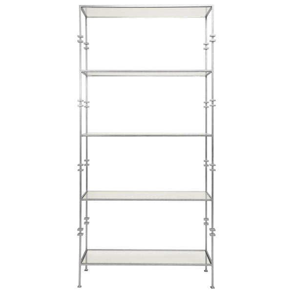 Worlds Away Contemporary Etagere with Squared Iron Rings – Silver Leaf