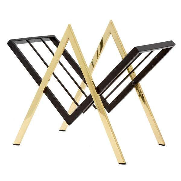 Bungalow 5 Polished Brass Contemporary Magazine Rack