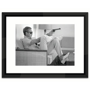 Worlds Away Black & White Lacquer-Framed Wall Art – Take Aim