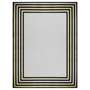 Worlds Away Swan Black & White Striped Rectangular Mirror