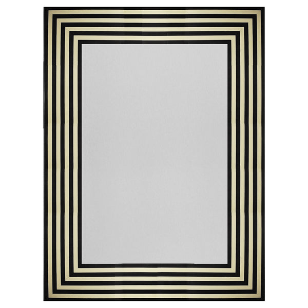 Worlds Away Black & White Striped Rectangular Mirror