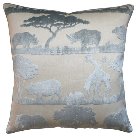 Safari Print Pillow – Cream & Silver