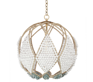 "20"" Adelaid Beaded Sphere Chandelier – Faux White Rock with Blue Metallic Chunky Quartz"