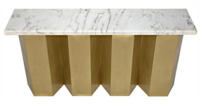 Noir Shilo Console - Metal and White Stone