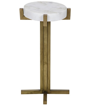 Noir Sardo Side Table - Antique Brass Metal & Quartz