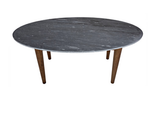 Noir Surf Oval Dark Walnut Dining Table with Stone Top