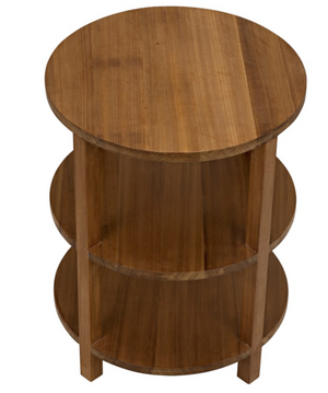 Noir Tier Gold Teak Side Table