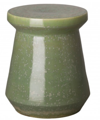 Mod Round Garden Stool with Speckled Glaze - Moss Green