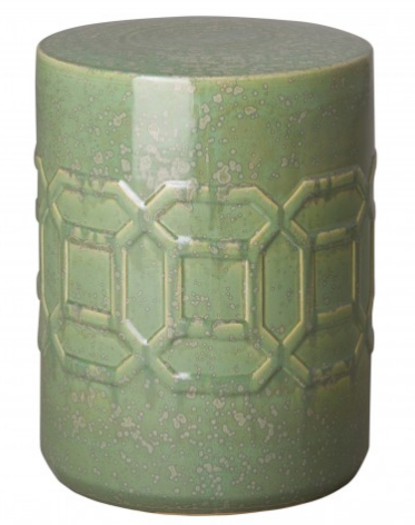 Axton Garden Stool with Speckled Glaze - Moss Green