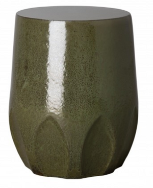 Calyx Relief Garden Stool – Metallic Moss Green