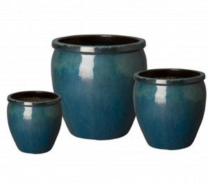 Large Rimmed Ceramic Planter - Teal Blue