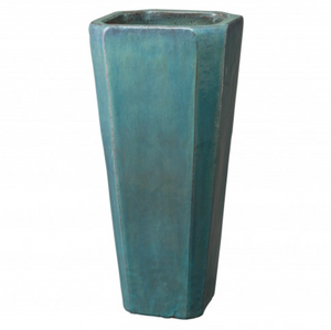 Tall Square Ceramic Planter - Teal Blue