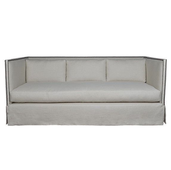 Modern High Back Sofa - Light Grey Linen (Other Colors Available)