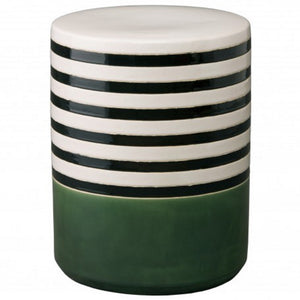 Striped garden stool-Hunter Green