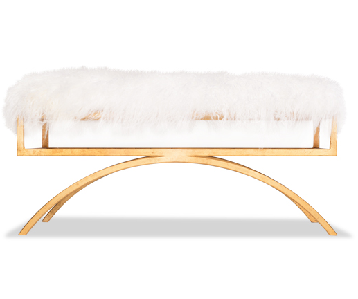 Arc Mongolian Sheepskin Bench - Gold Frame (2 Color & 4 Finish Options)