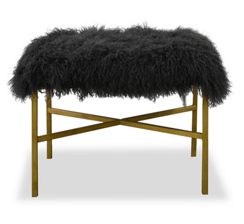 Cross Bar Mongolian Sheepskin Ottoman - Gold Frame (2 Color & 4 Finish Options)