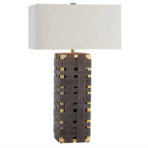 Arteriors Elis Woven Suede Table Lamp