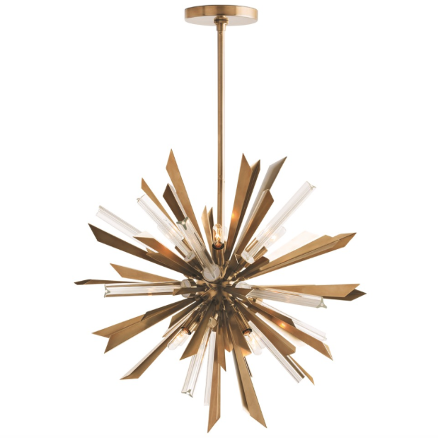 Arteriors Small Waldorf Angular Sunburst Chandelier - Antique Brass
